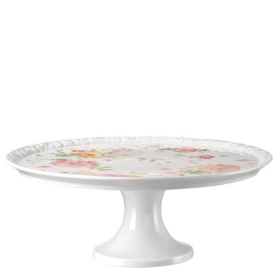 Tart platter on foot large Maria Pink Rose