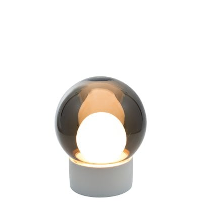 Boule Small white, Glass smoky grey/opalwhite