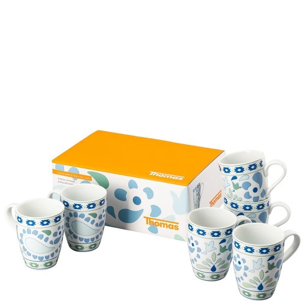 Set of 6 mugs with handle Thomas Colour Game Blue
