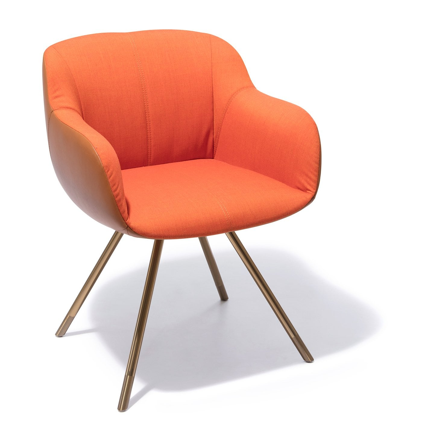 SHELL Orange/Cognac Fabric/Leather Armchair | Rosenthal ...