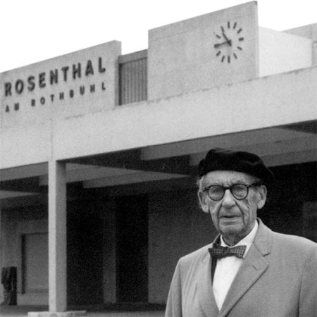 - Walter Gropius in front of the Rosenthal factory
